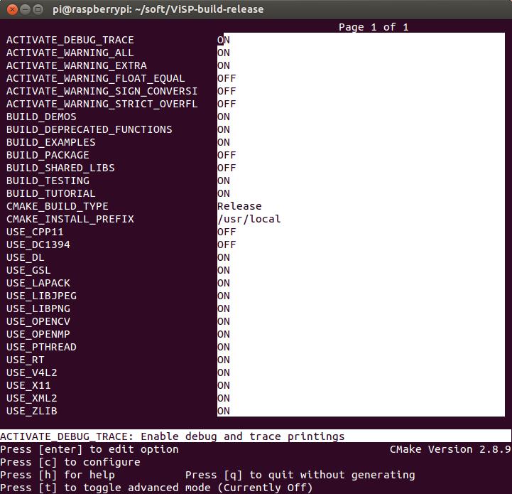 ViSP: Tutorial: Installation from source on Raspberry Pi