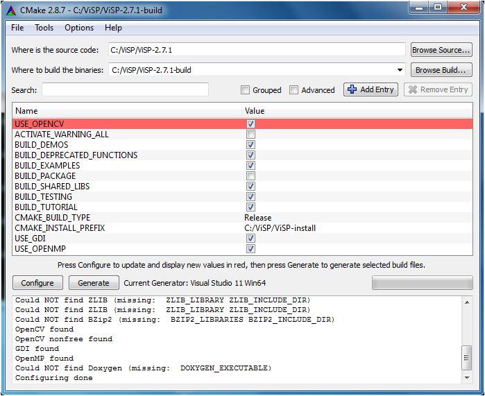 ViSP: Tutorial: Installation from source on Windows