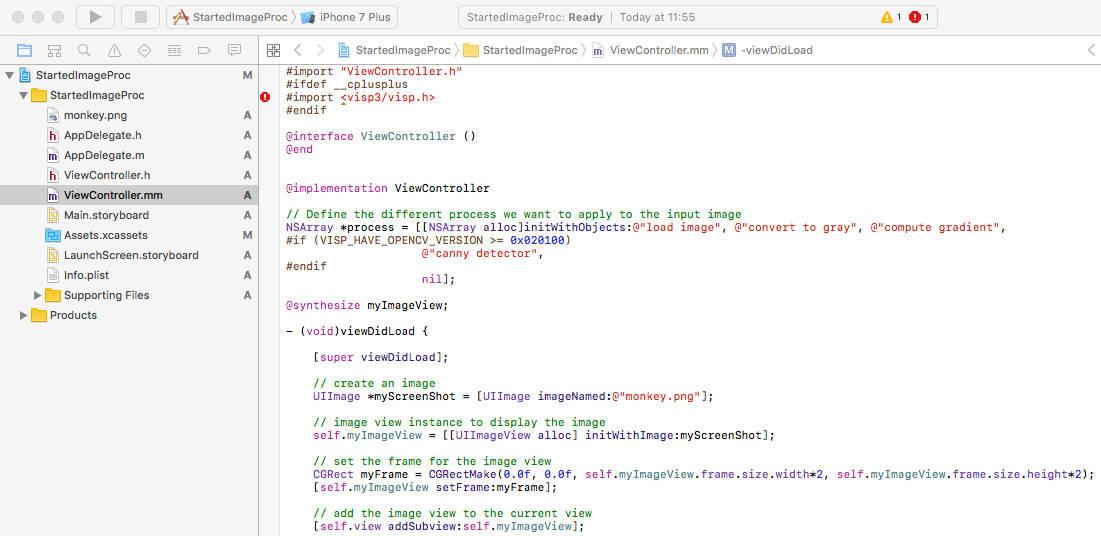 Visual Servoing Platform: Tutorial: Image processing on iOS